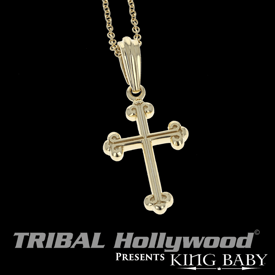 ALL GOLD TRADITIONAL CROSS Mens Pendant Chain Necklace by King Baby