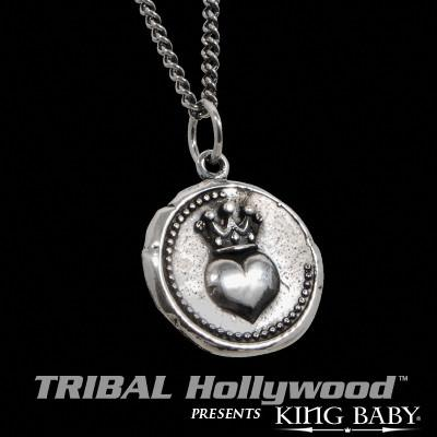 CROWNED HEART Vintage Coin Sterling Silver Necklace by King Baby