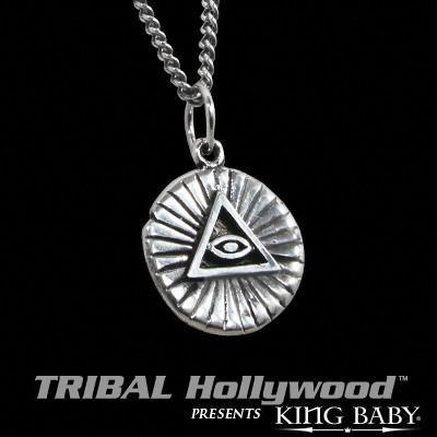 ALL SEEING EYE Vintage Coin Sterling Silver Necklace by King Baby