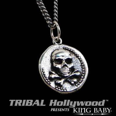 King Baby SKULL AND CROSSBONES Vintage Coin Sterling Silver Necklace