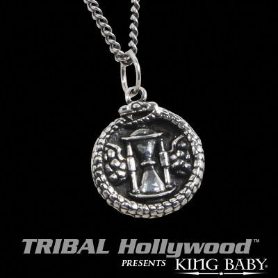 King Baby HOUR GLASS Time Serpent Coin Sterling Silver Mens Necklace