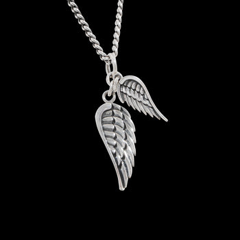 DOUBLE WINGS Sterling Silver Pendant Necklace by King Baby