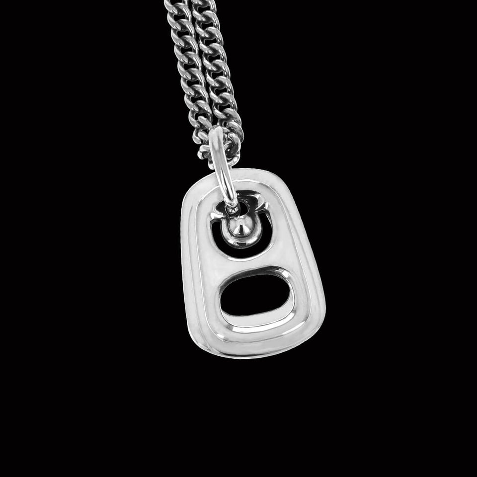 King Baby POP TOP Sterling Silver Beer Tab Pendant Chain for Men