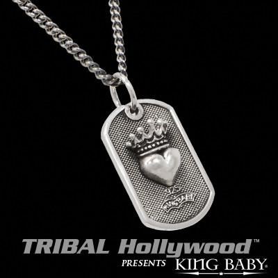 CROWNED HEART King Baby Small Dog Tag Necklace in Sterling Silver
