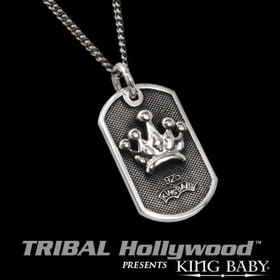 CROWN Small Dog Tag Silver Chain Necklace by King Baby
