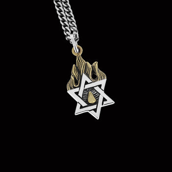 GOLD FLAME STAR OF DAVID Silver Pendant Chain for Men by King Baby