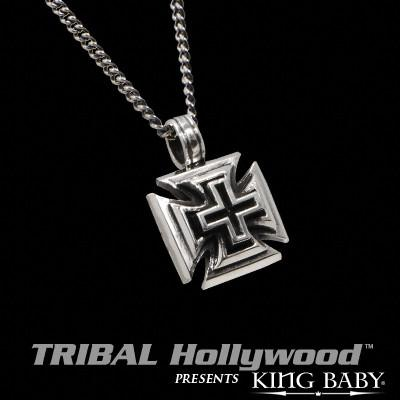 SLASH CHOPPER CROSS Silver Pendant Necklace by King Baby