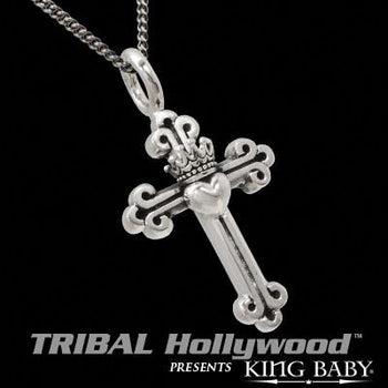CROWN & HEART CROSS Men's Sterling Silver Necklace by King Baby