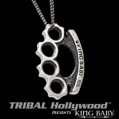 BRASS KNUCKLES LARGE Sterling Silver Pendant by King Baby Studio