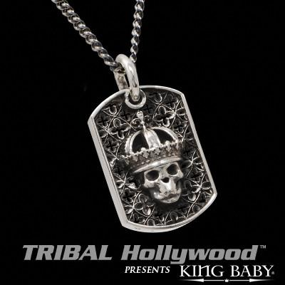 CROWNED SKULL Relic Cluster Large Dog Tag Necklace by King Baby
