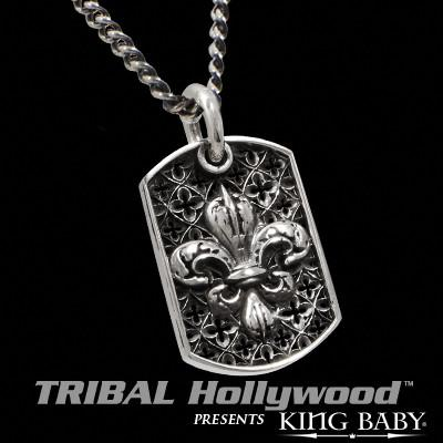 LARGE FLEUR DE LYS RELIC King Baby Silver Large Dog Tag Chain