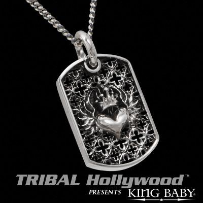 CROWNED HEART Chosen Relic Cluster Large Dog Tag Necklace by King Baby