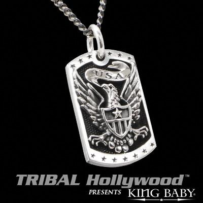 EAGLE SHIELD Large King Baby Dog Tag Necklace in Sterling Silver
