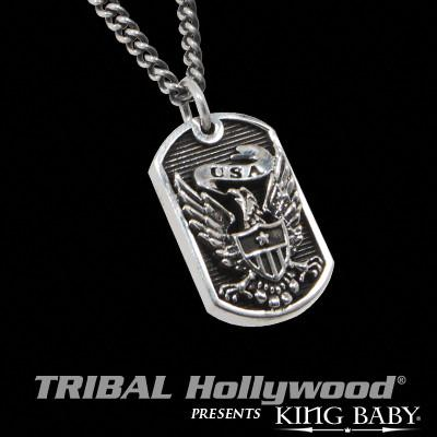EAGLE SHIELD Small King Baby Dog Tag Necklace in Sterling Silver