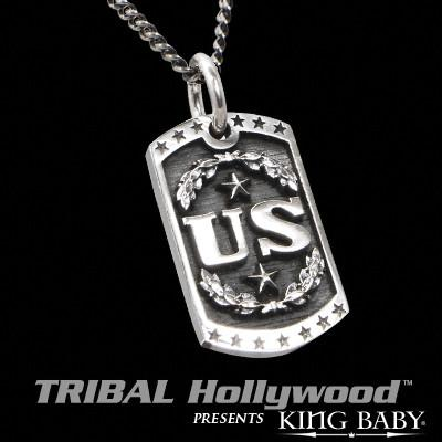 UNITED STATES Large King Baby Dog Tag Necklace in Sterling Silver
