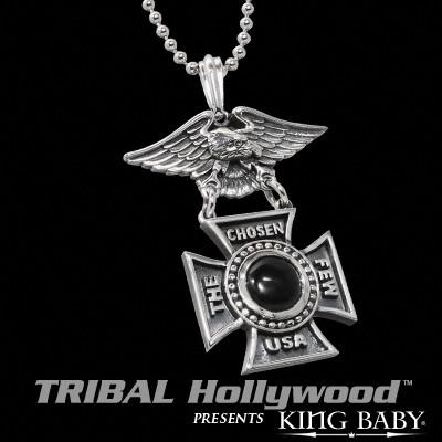 CHOSEN FEW Black Onyx King Baby Eagle Medal in Sterling Silver