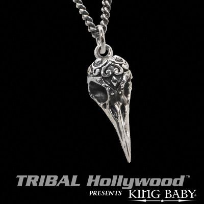 RAVEN SKULL SMALL Sculpted Sterling Silver Mens Necklace by King Baby