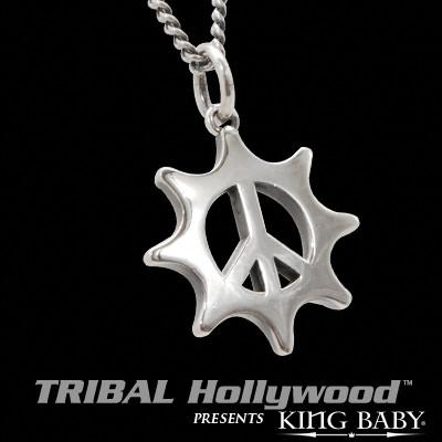 PEACE SIGN GEAR Sterling Silver King Baby Pendant Necklace