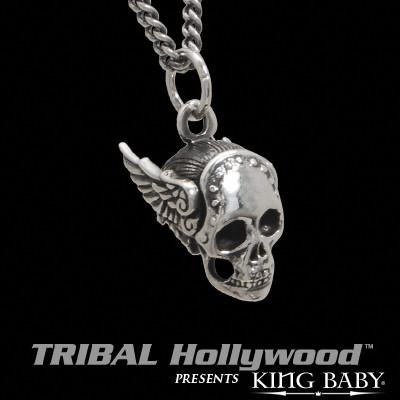 MERCURY WINGED SKULL Sterling Silver Mens Necklace by King Baby