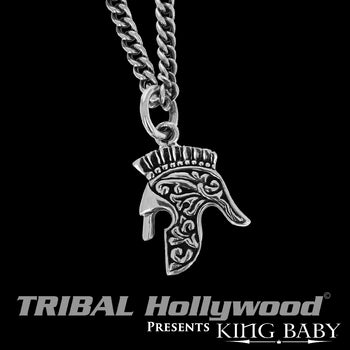 SPARTAN HELMET Warrior Pendant Chain in Silver by King Baby