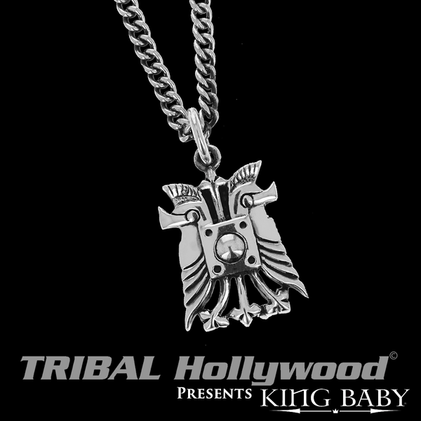 Double Helmet Necklace King Baby Pendant Chain For Men In Silver