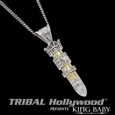 King Baby 38 SPECIAL STAR FLAG BULLET Sterling Silver Mens Necklace
