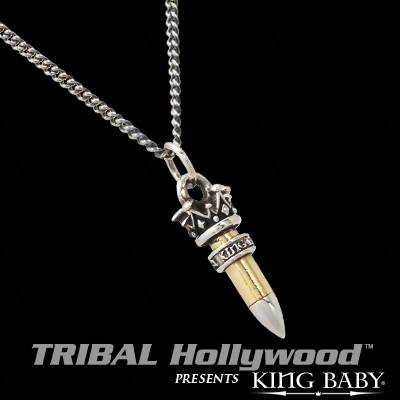 22 CALIBER RIFLE BULLET King Baby Chain Necklace with Silver Ring