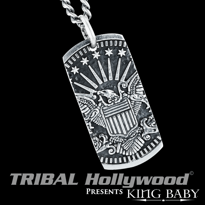 Mens sterling silver necklaces tribal hollywood american eagle dogtag king baby silver chain pendant for men mozeypictures Images