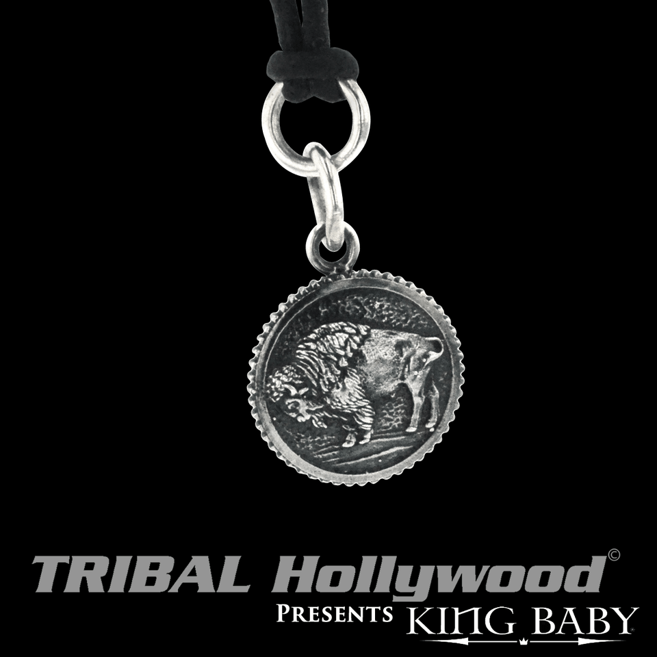 BUFFALO COIN Sterling Silver Mens Pendant Chain by King Baby