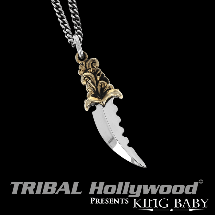 SAWTOOTH DAGGER Gold Alloy and Silver Blade Pendant Chain by King Baby