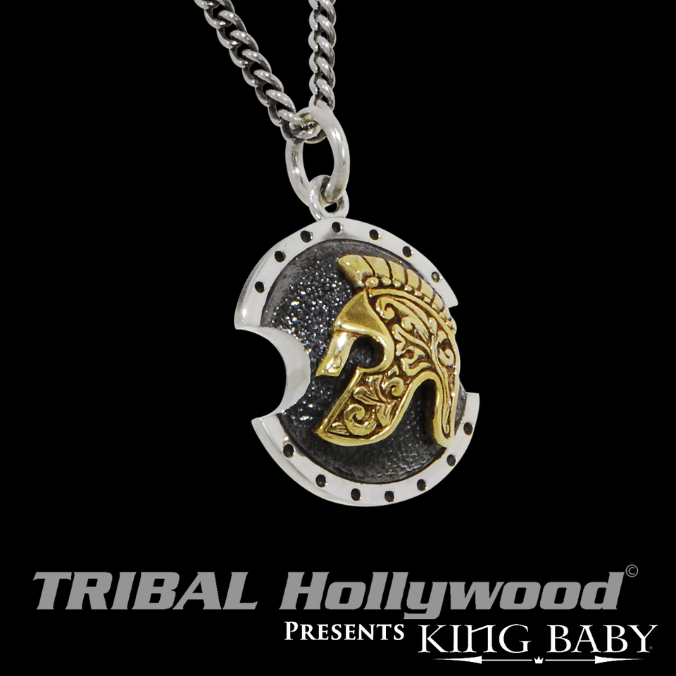 SPARTAN SHIELD NECKLACE for Men in Silver and Gold Alloy by King Baby