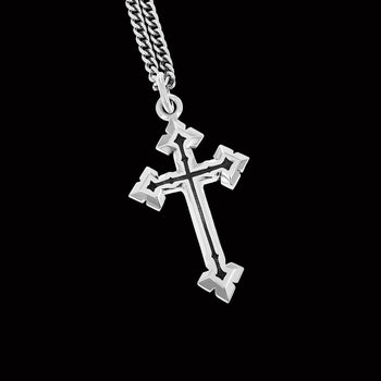 King Baby POINTED CROSS Silver Pendant Necklace for Men