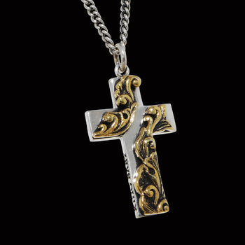 GOLD SCROLL CROSS Pendant Chain for Men by King Baby Studio
