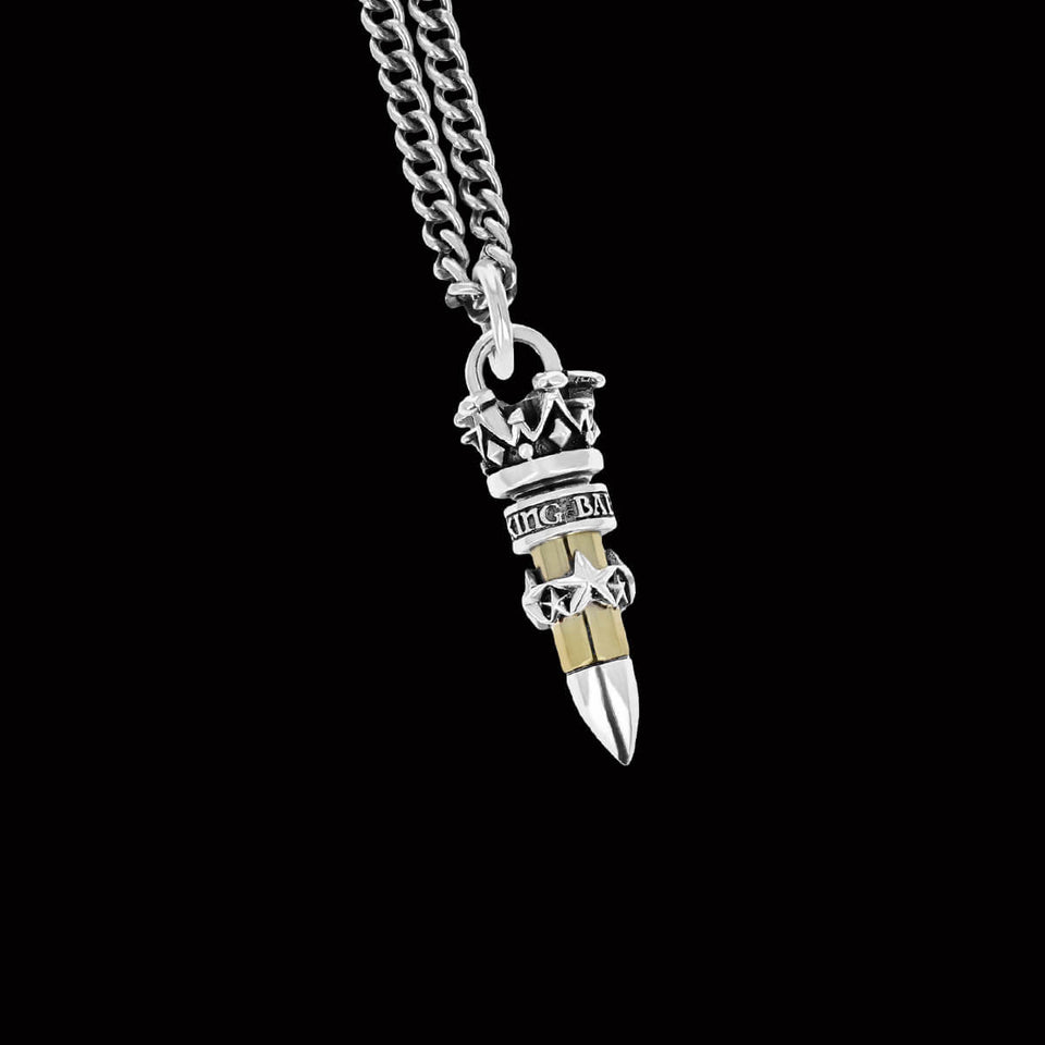 22 CALIBER STARS BULLET Pendant Chain for Men by King Baby Studio
