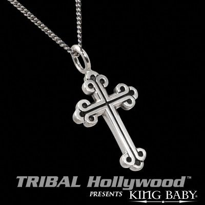 King Baby Studio SMALL CROSS Necklace for Men in Sterling Silver