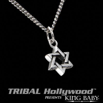 STAR OF DAVID Small Sterling Silver Pendant Necklace by King Baby