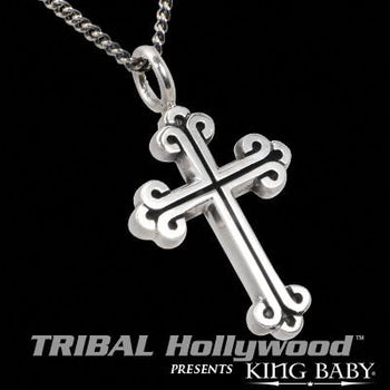 King Baby Studio LARGE CROSS Necklace for Men in Sterling Silver