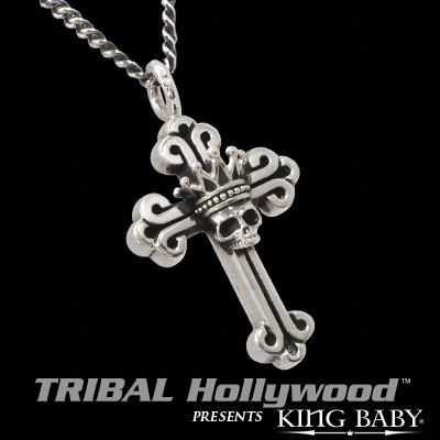 CROWN SKULL CROSS Men's Silver Necklace by King Baby