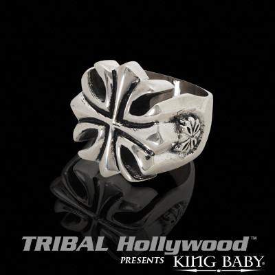 GOTHIC IRON CROSS Sterling Silver Mens Ring by King Baby