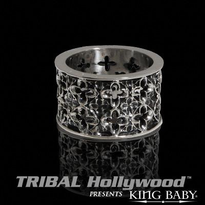 CROSS-CUT RELIC Sterling Silver Mens Band Ring by King Baby