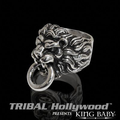 LIONS HEAD Sterling Silver Knocker Mens Ring by King Baby