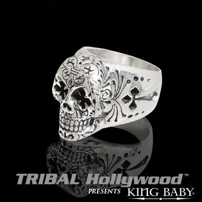 DAY OF THE DEAD SKULL Sterling Silver Mens Ring by King Baby