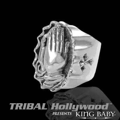 PRAYING HANDS Sterling Silver Ring by King Baby