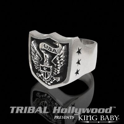The AMERICAN EAGLE SHIELD Mens Sterling Silver Ring by King Baby