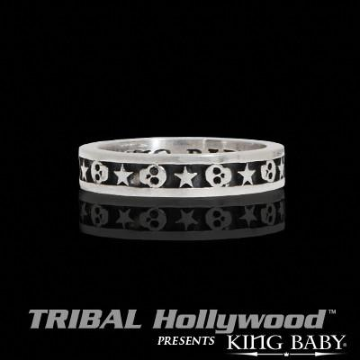 STARS AND SKULLS Stackable Sterling Silver Ring by King Baby