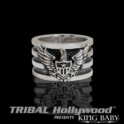 AMERICAN EAGLE Wide Sterling Silver Mens Ring by King Baby