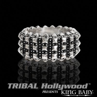PYRAMID STUDDED Full Size Sterling Silver Ring by by King Baby