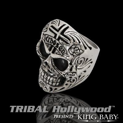 CHOSEN DAY OF THE DEAD SKULL Sterling Silver Mens Ring by King Baby