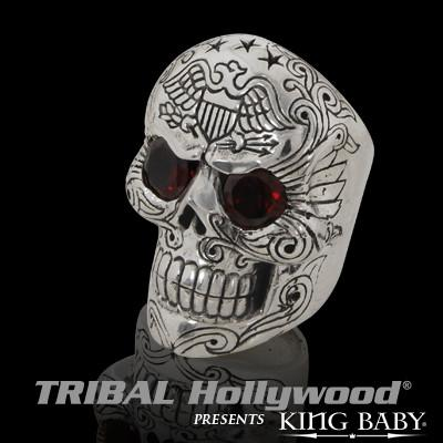 King Baby EAGLE DAY OF THE DEAD Silver Skull Ring with Red Garnet Eyes