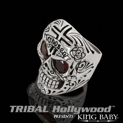 496eb626c1992 CHOSEN RED GARNET EYED DAY OF THE DEAD SKULL Sterling Silver Mens Ring by  King Baby
